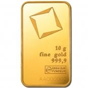 Goldbarren 10 Gramm - Vorderseite Blister