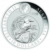 Kookaburra 10 oz Silber 2020 - Wertseite