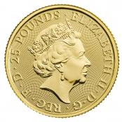 Queen's Beast White Horse 1/4 oz Gold 2020 - Wertseite