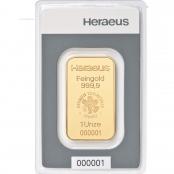 Goldbarren 1 oz Heraeus, mit Echtheitszertifikat und Produktionsnummer