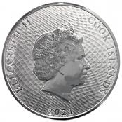 """Cook Islands 1 oz Silber - Auf der Rückseite wird das Portrait der englischen Königin """"Elisabeth II"""" dargestellt"""