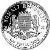 Somalia Elefant 1 oz Silber 2020 - Wertseite