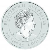 Lunar Maus 1 oz Silber 2020 - Wertseite mit Queen Elizabeth II, Königin von England.