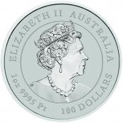 Lunar III -  Ochse 1 oz Platin 2021 - Wertseite der einmaligen Silbermünze der Perth Mint