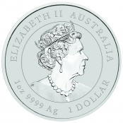 Lunar III -  Ochse 1 oz Silber 2021 - Wertseite mit Queen Elizabeth II, Königin von England.