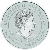 Lunar III -  Tiger 1 oz Platin 2022 - Wertseite der einmaligen Silbermünze der Perth Mint