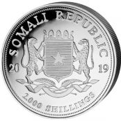 Somalia Elefant 1 oz Silber 2019 - Wertseite