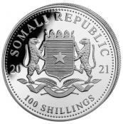 Somalia Elefant 1 oz Silber 2021 - Wertseite
