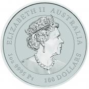 Lunar Maus 1 oz Platin 2020 - Wertseite der einmaligen Silbermünze der Perth Mint