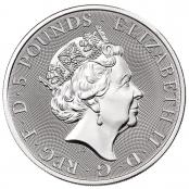 Queen's Beasts Completer Coin 2 oz Silber 2021 - Wertseite