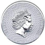 """Cook Islands 2 oz Silber - Auf der Rückseite wird das Portrait der englischen Königin """"Elisabeth II"""" dargestellt"""