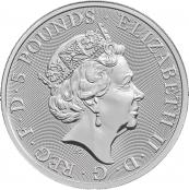 Queen's Beasts Unicorn 2 oz Silber 2018- Wertseite