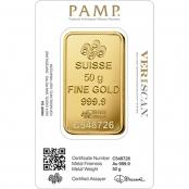 Goldbarren 50 Gramm Fortuna - PAMP Suisse Blister