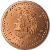 Aztekenkalender 5 oz Kupfer - Rückseite