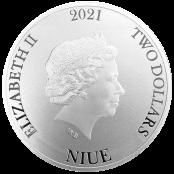 Bitcoin Münze aus Silber 1 oz (Niue)- Wertseite