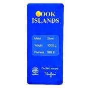 Silberbarren Cook Islands 1 Kg - Der 1 Kilo Barren ist eingeschweißt und auf der Rückseite liegt ein Zertifikat des Herstellers Argor-Heraeus bei.