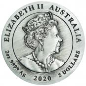 Lunar Maus 2 oz Silber Antiqued 2020 - Wertseite
