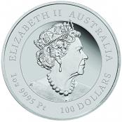 Lunar Maus 1 oz Platin 2020 Proof - Wertseite der einmaligen Silbermünze der Perth Mint