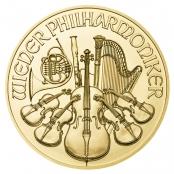 Philharmoniker 1 oz Gold - Auf der Motivseite des Philharmonikers in Gold finden sich ausgewählte Instrumente der Wiener Philharmoniker
