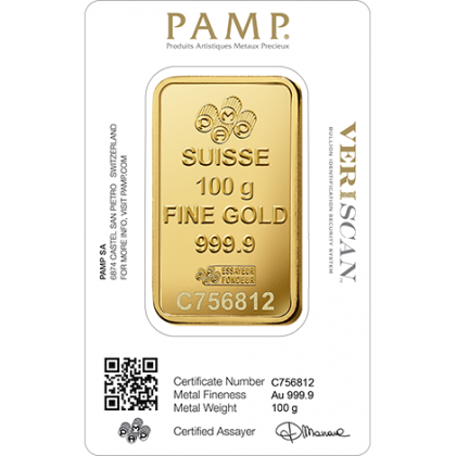 Goldbarren 100 Gramm PAMP Suisse