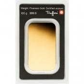 Goldbarren 100 Gramm Argor-Heraeus - Rückseite Blister