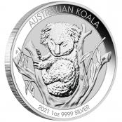 Koala 1 oz Silber 2021 - Der Koala wird mit jährlich wechselnden Motiven ausgegeben.