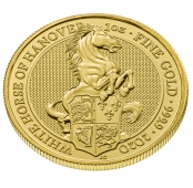 Queen's Beasts White Horse 1 oz Gold 2020 - 3 D Ansicht