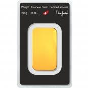 Goldbarren 20 Gramm Argor-Heraeus - Blister Rückseite