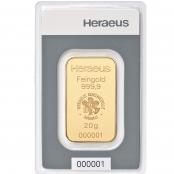 Goldbarren kinebar™ 20 Gramm Heraeus - Blister
