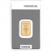 Goldbarren 5 Gramm Heraeus - Blister