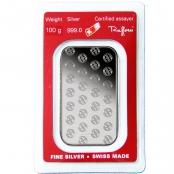 Silberbarren 100 Gramm - Blister-Rückseite