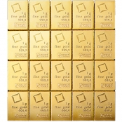 20 x 1 g Gold CombiBar Valcambi - Rückseite
