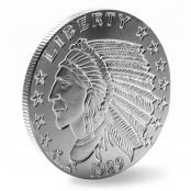 Indian Head 2 oz Silber - 3 D Ansicht