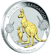 Kangaroo 1 oz Silber 2020 Gilded - 3 D