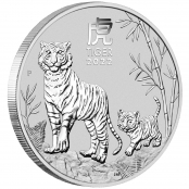 Lunar III - Tiger 2 oz Silber 2022 - 3 D
