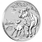 Lunar III - Ochse 2 oz Silber 2021 - 3 D