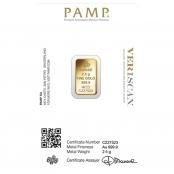 Goldbarren 2,5 Gramm Fortuna - Rückseite Blister