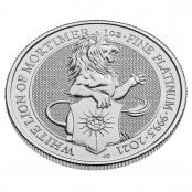 Queen's Beasts White Lion 1 oz Platin 2021 - 3 D Ansicht