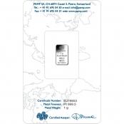 Platinbarren 1 Gramm Fortuna PAMP Suisse - Blister Rückseite