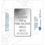 Silberbarren 100 g Fortuna PAMP Suisse - Rückseite Blister