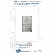 Platinum Bar 10 Gram PAMP Suisse - Rückseite Blister
