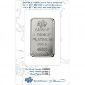 Platinbarren 1 oz PAMP Suisse Rückseite Blister