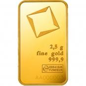 Goldbarren Valcambi 2,5 Gramm - LBMA zertifiziert