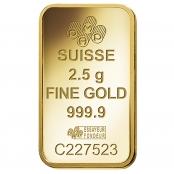 Goldbarren 2,5 Gramm Fortuna - PAMP Suisse Logo