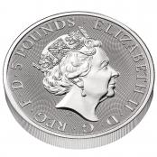 Queen's Beasts Completer Coin 2 oz Silber 2021 - 3d Rückseite