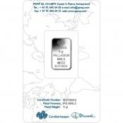 Palladiumbarren  5 Gramm PAMP Suisse - Blister Rückseite