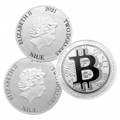Bitcoin Münze aus Silber 1 oz (Niue) - 3er
