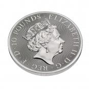 Queen's Beasts White Horse 10 oz Silber 2021 - 3d Rückseite