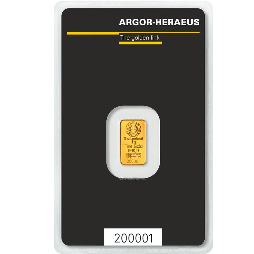 goldbarren 1g argor heraeus 1 g gold g nstig kaufen. Black Bedroom Furniture Sets. Home Design Ideas