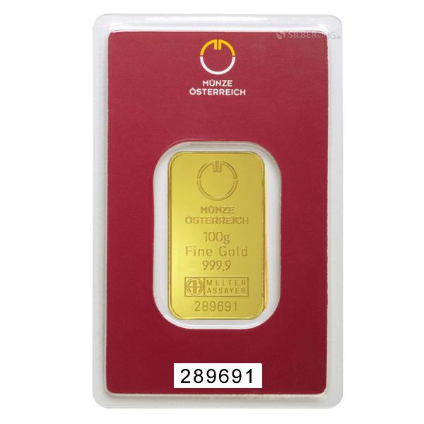 Gold Bars 100 Gram Austrian Mint | buy online | silberling.de